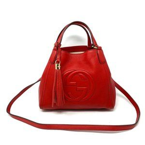 100% Auth Gucci Red Soho Leather Crossbody Bag